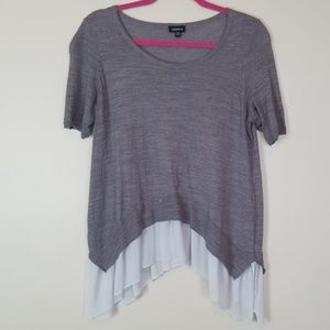 Torrid size medium gray layered look shirt blouse